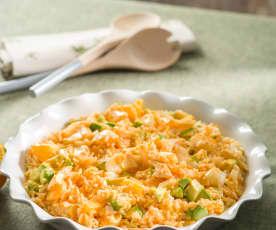 Ensalada de arroz con bacalao y vinagreta de piquillos