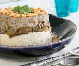Lamb with rice and aubergines (maghlobat badenjan)