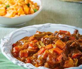 Verduras en salsa morita