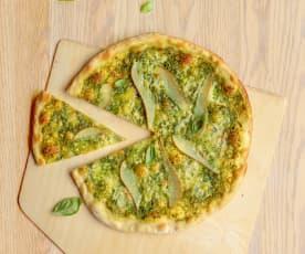Pizza au pesto, poire et gorgonzola