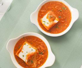 Queso fresco en salsa de tomate masala