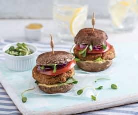 Wegański burger bezglutenowy z portobello