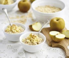 Overnight oats de maçã, canela e mel
