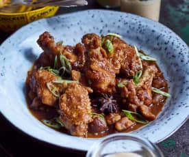 Hähnchen mit Maronen und Eierpudding  (板栗烧鸡和布丁)