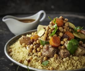 Couscous with chicken, lamb and spicy sausages