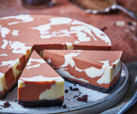 Tarta de queso marmoleada