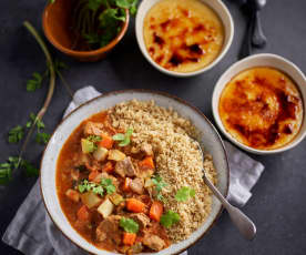 Couscous with Lamb and Vegetable Ragout; Crema Catalana
