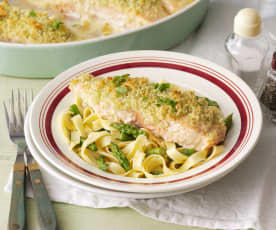Almond Crusted Salmon with Asparagus Tagliatelle