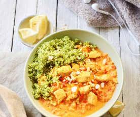Brokkoli-Couscous mit Joghurt-Curry-Hähnchen für 4