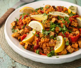 Vegan Paella with Smoked Tofu