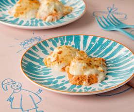 Huevos gratinados rellenos de jamón