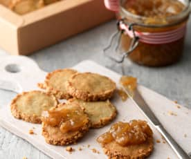 Stilton and Walnut Biscuits with Roasted Garlic Jam