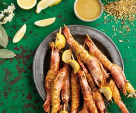 Espetadas de camarão e limão com molho de mostarda