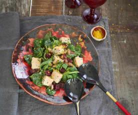 Salada morna de feijão e salmão