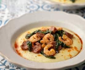Polenta with Prawns, Chorizo and Spinach
