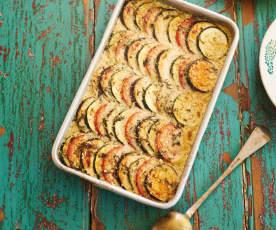 Legumes no forno com molho de queijo e ervas