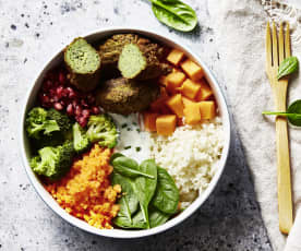 Buddha bowl with lentil falafel and pomegranate