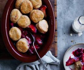 Plum and raspberry cobbler