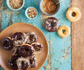 Donuts de massa choux com doce de leite
