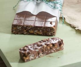 Turrón de muesli, almendra y chocolate