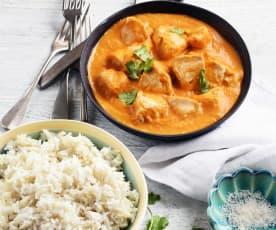 Curry de poulet aux fruits et riz