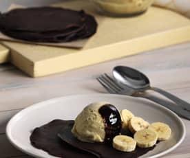 Crêpes de chocolate con helado de plátano
