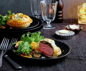 Rindsfilet-Päckli mit Salat