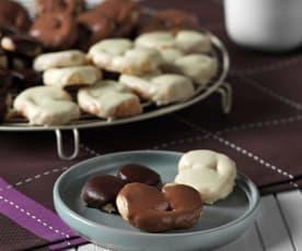 Palmeritas de hojaldre bañadas con chocolate