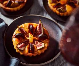 Ziegenkäsetartelettes mit Feigen und Chorizo
