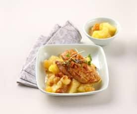 Chutney de pomme, foie gras en croûte de pain d'épices
