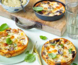 Miniclafoutis d'aubergine, orge perlé et dip de courgette