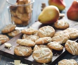 Sušenky s hruškami a bílou čokoládou