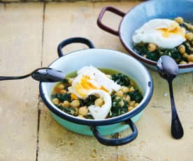 Ovos com grão e espinafres