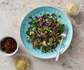 Kale, sprouts and red cabbage salad