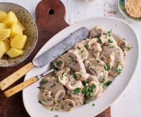 Polędwiczki wieprzowe z sosem musztardowym i ziemniakami