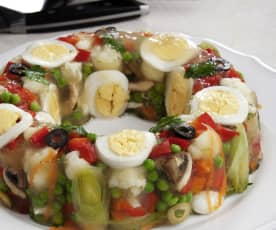 Áspic de verduras y huevo