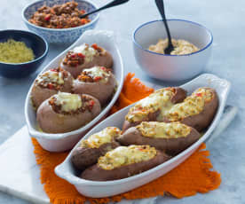 Stuffed jacket potatoes (two ways)