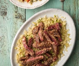 Seared Sesame Steaks with Ginger Chopped Salad and Lime Couscous