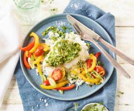 Paprika-Tomaten-Kabeljau mit Reis