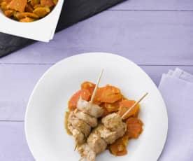 Brochetas de pavo con zanahorias especiadas