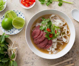 Pho bo (Vietnamese beef and noodle soup)