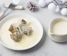 Alcachofas confitadas con crema de queso Idiazábal