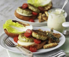 Lemon and Herb Salmon Burgers with Parmesan Courgettes