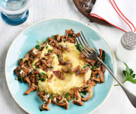 Polenta aux champignons et à la mozzarella