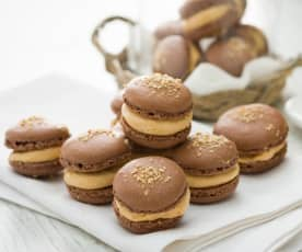 Macarons de chocolate con foie