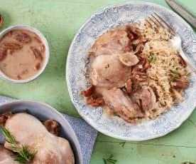 Poulet sauce au cidre, lardons, oignons et noix de pécan