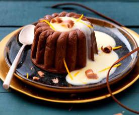 Entremets chocolat-châtaigne, crème anglaise à la clémentine