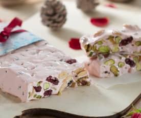 Turrón de rosas, almendras, pistachos y arándanos