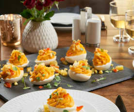 Deviled Eggs with Chow Chow and Cajun Sunshine