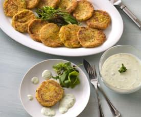 Pasteles de patata y cangrejo con salsa de yogur (sin gluten)